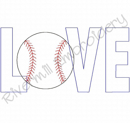Raggy Applique Baseball Love Machine Embroidery Design