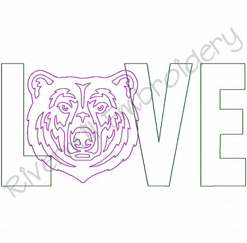 Raggy Applique Love with a Bear Face Machine Embroidery Design