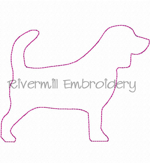 Raggy Applique Beagle Machine Embroidery Design