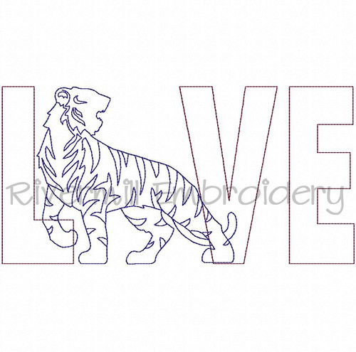 Raggy Applique Tiger Love Machine Embroidery Design (Version 2)