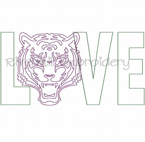 Raggy Applique Love with a Tiger Face Machine Embroidery Design