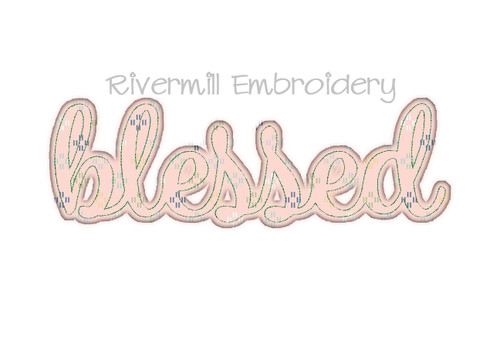 Raggy Applique Script Blessed Machine Embroidery Design