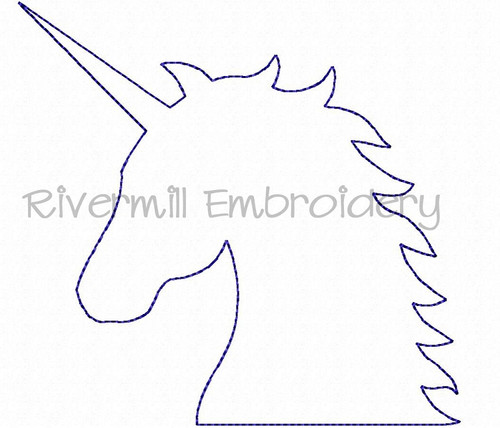 Raggy Applique Unicorn Head Machine Embroidery Design