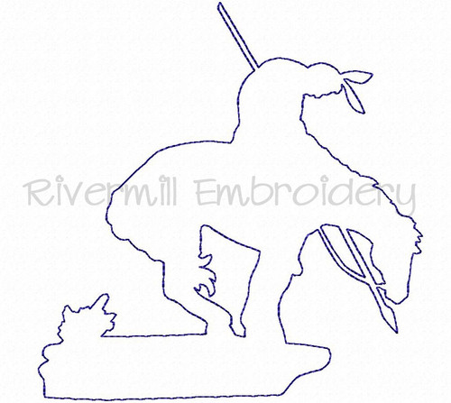 Raggy Applique End of the Trail Indian On Horse Machine Embroidery Design