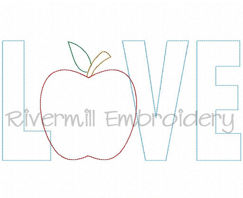 Raggy Applique Teacher Love Machine Embroidery Design