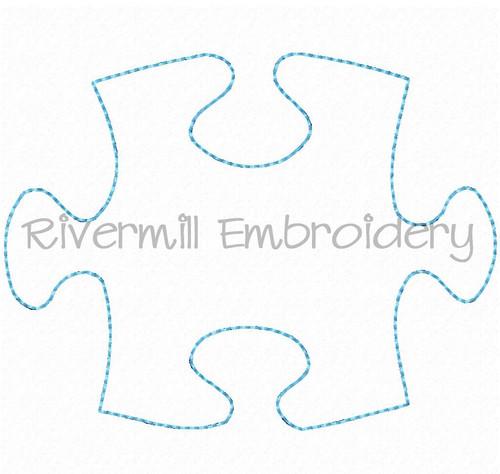 Raggy Applique Autism Puzzle Piece Machine Embroidery Design
