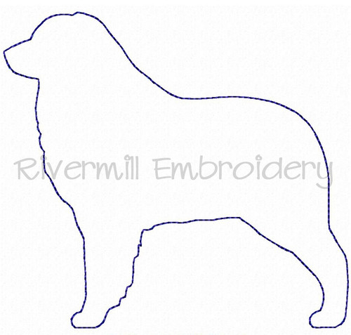 Raggy Applique Australian Shepherd Dog Silhouette Machine Embroidery Design