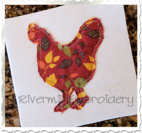 Raggy Applique Chicken Silhouette Machine Embroidery Design