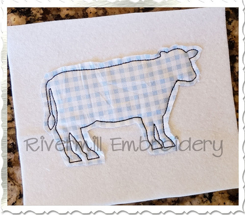 Raggy Applique Cow Silhouette Machine Embroidery Design