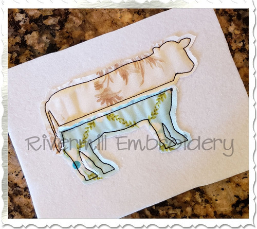 Raggy Applique Split Cow Silhouette Machine Embroidery Design