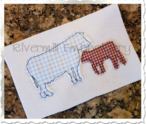 Two Raggy Applique Cows Silhouette Machine Embroidery Design