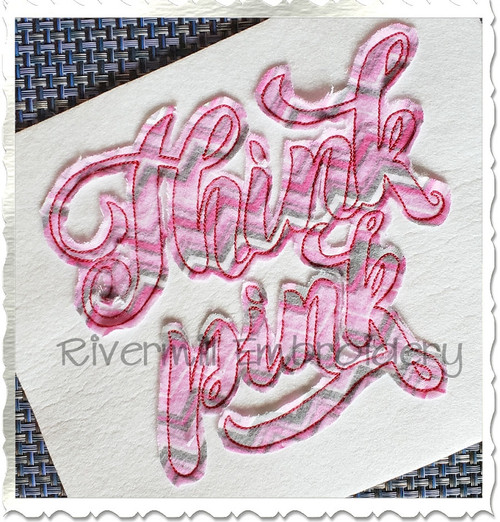 Raggy Applique Think Pink Machine Embroidery Design