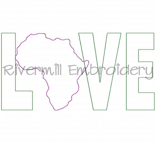 Raggy Applique Africa Love Machine Embroidery Design