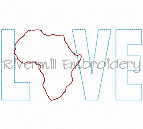 Small Raggy Applique Africa Love Machine Embroidery Design
