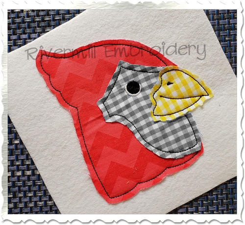 Raggy Applique Cardinal Machine Embroidery Design
