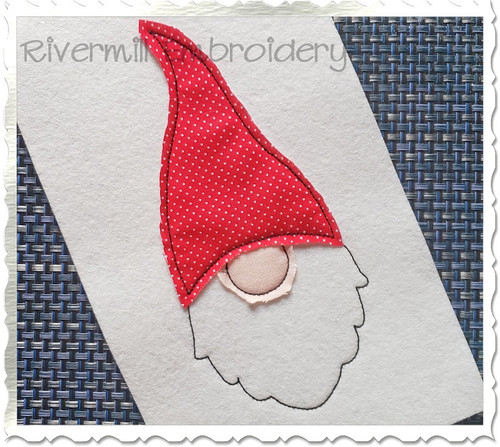 Raggy Applique Gnome Face Machine Embroidery Design