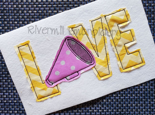 Raggy Applique Love with a Megaphone Machine Embroidery Design