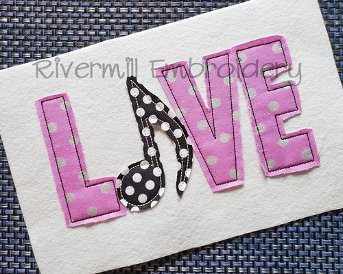 Raggy Applique Love with Music Note Machine Embroidery Design