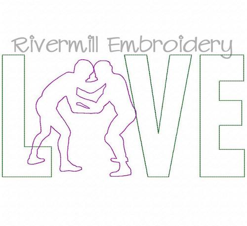Raggy Applique Wrestling Love Machine Embroidery Design