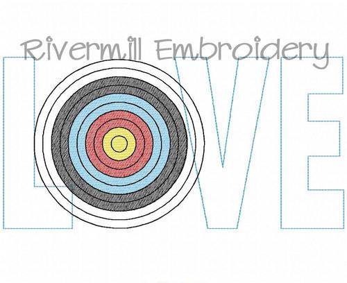 Raggy Applique Archery Love Machine Embroidery Design