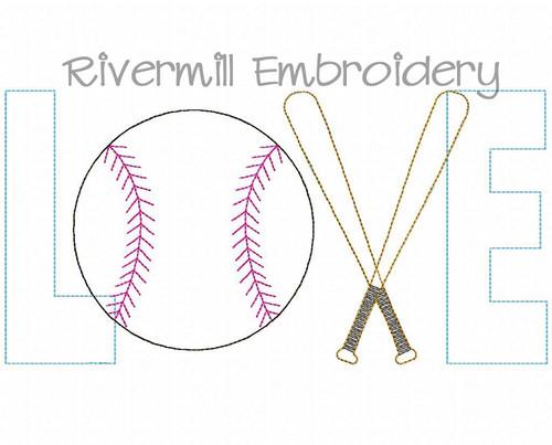 Raggy Applique Baseball Love Machine Embroidery Design #3