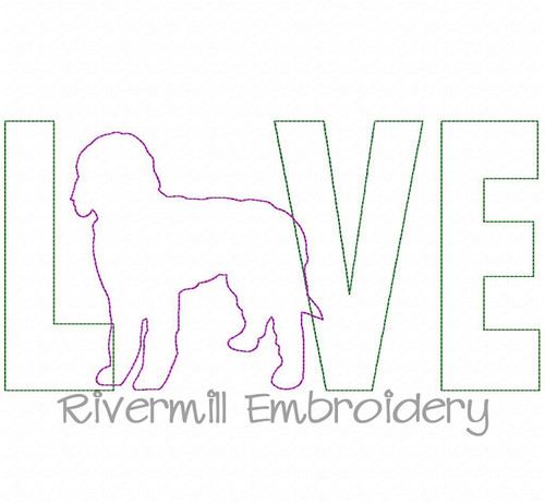 Raggy Applique Labradoodle Love Machine Embroidery Design