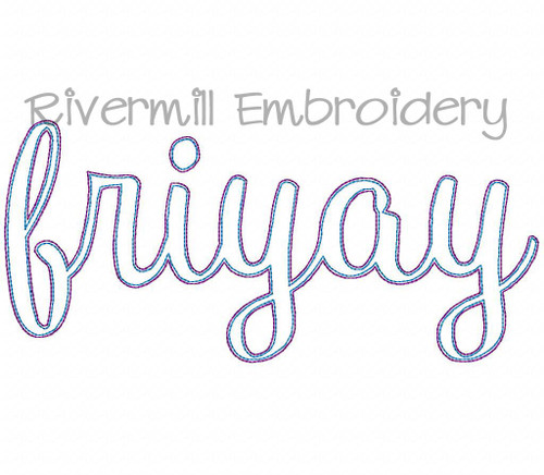 Raggy Applique Script Friyay Machine Embroidery Design