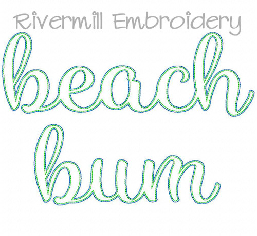 Raggy Applique Beach Bum Machine Embroidery Design