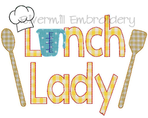 Lunch Lady Raggy Applique Machine Embroidery Design
