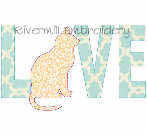 Raggy Applique Cat Love Machine Embroidery Design
