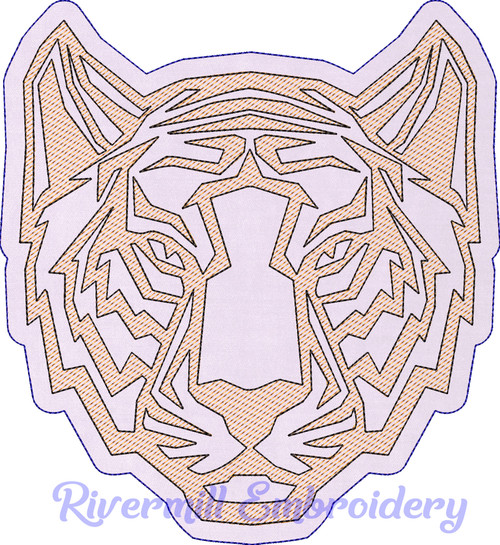 Raggy Applique Tiger Face Machine Embroidery Design