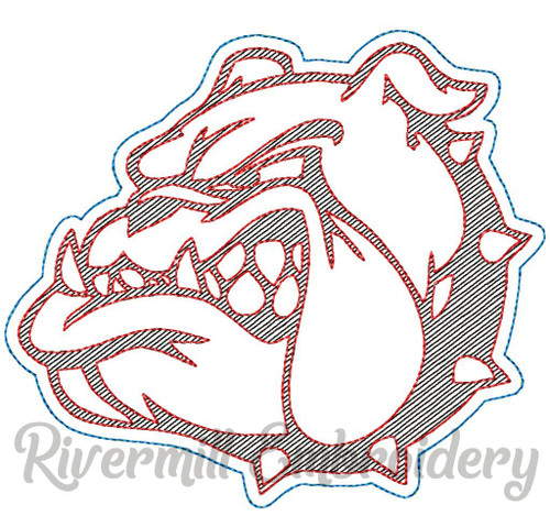 Raggy Applique Bulldog Face Machine Embroidery Design