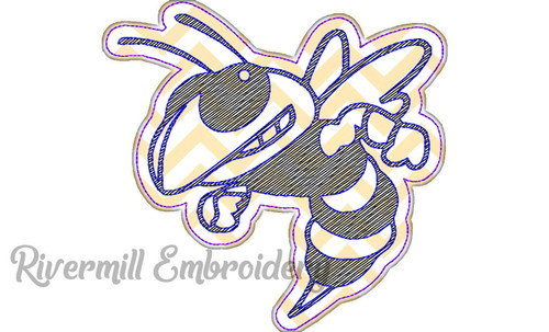 Raggy Applique Yellow Jacket Machine Embroidery Design