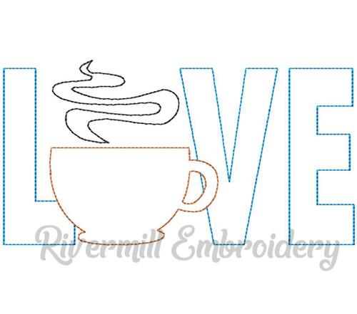 Raggy Applique Coffee Love Machine Embroidery Design