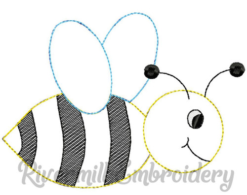 Raggy Applique Bumble Bee Machine Embroidery Design