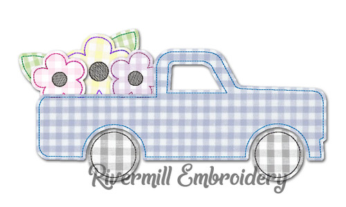 Raggy Applique Truck w/ Flowers Machine Embroidery Design
