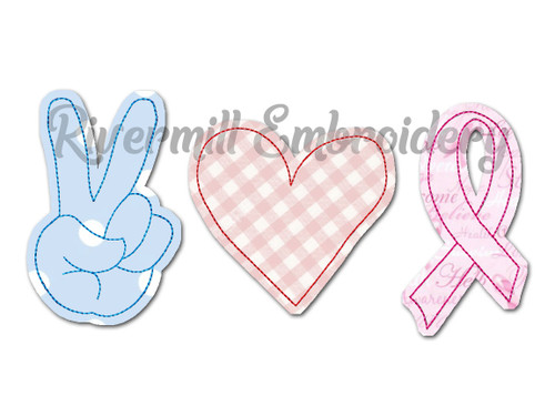 Raggy Applique Peace Love Awareness Ribbon Machine Embroidery Design
