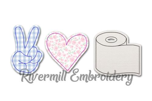 Raggy Applique Peace Love Toilet Paper Machine Embroidery Design