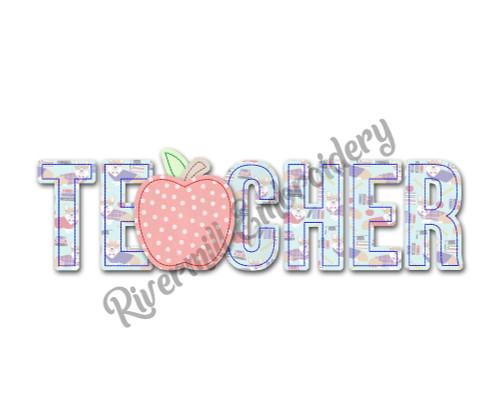 Raggy Applique Teacher Machine Embroidery Design