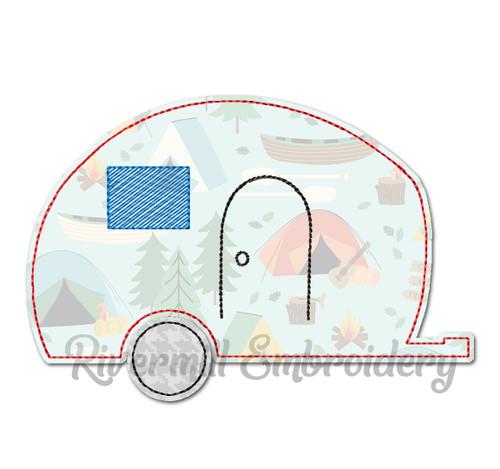 Raggy Applique Retro Camper Machine Embroidery Design