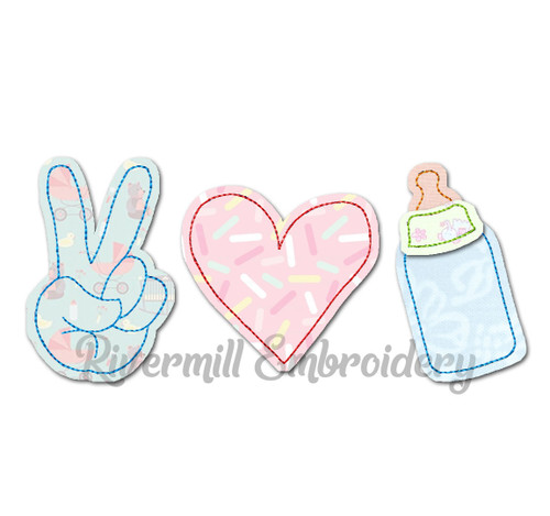 Raggy Applique Peace Love Baby Bottle Machine Embroidery Design
