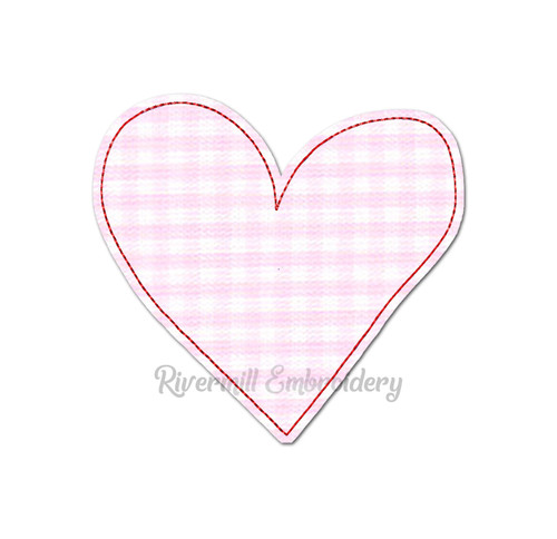Raggy Applique Heart Machine Embroidery Design