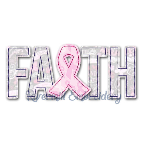 Raggy Applique Faith w/ Cancer Ribbon Machine Embroidery Design