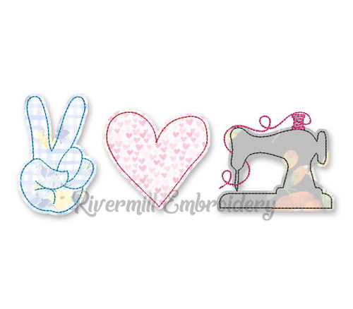 Raggy Applique Peace Love Sew Sewing Machine Embroidery Design