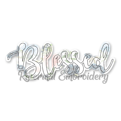 Raggy Applique Script Blessed Machine Embroidery Design Style 2