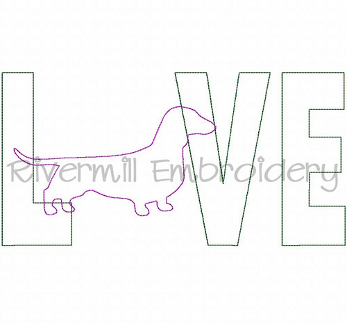 Raggy Applique Dachshund Love Machine Embroidery Design