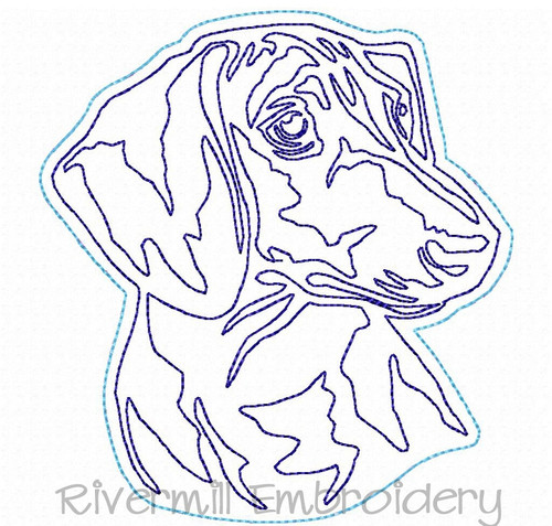 Raggy Applique Dachshund Face Machine Embroidery Design