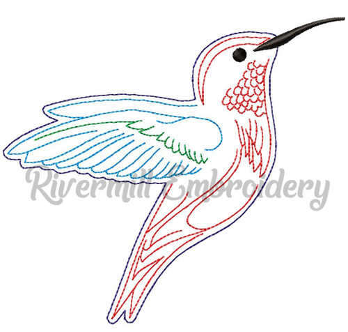 Raggy Applique Hummingbird Machine Embroidery Design