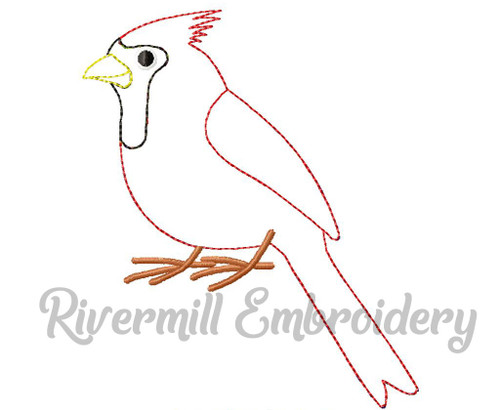 Raggy Applique Cardinal Machine Embroidery Design (Style 2)
