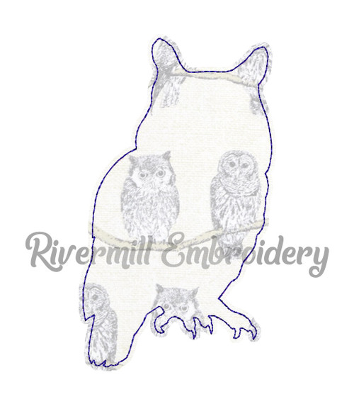 Raggy Applique Owl Silhouette Machine Embroidery Design